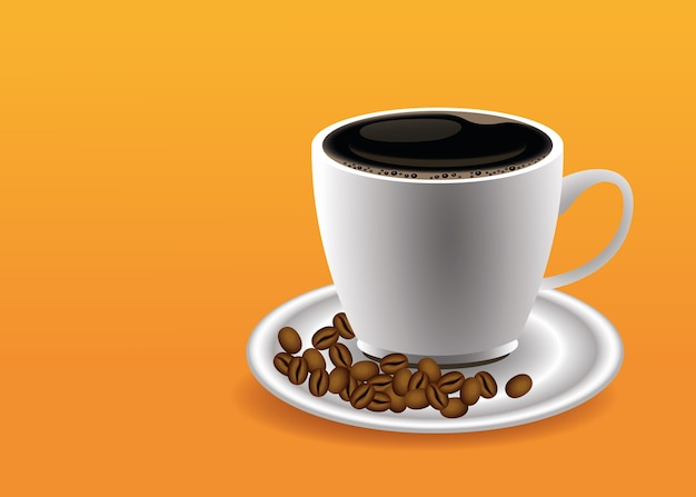 Coffee break poster with cup and seeds in orange background vector illustration design Premium Vector