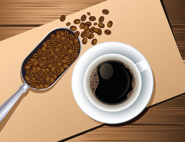 Coffee break poster with cup and seeds in spoon wooden background vector illustration design Premium Vector