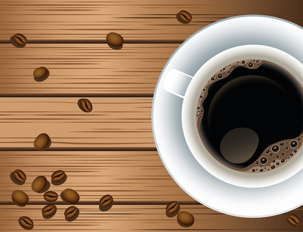 Coffee break poster with cup and seeds in wooden background vector illustration design Premium Vector