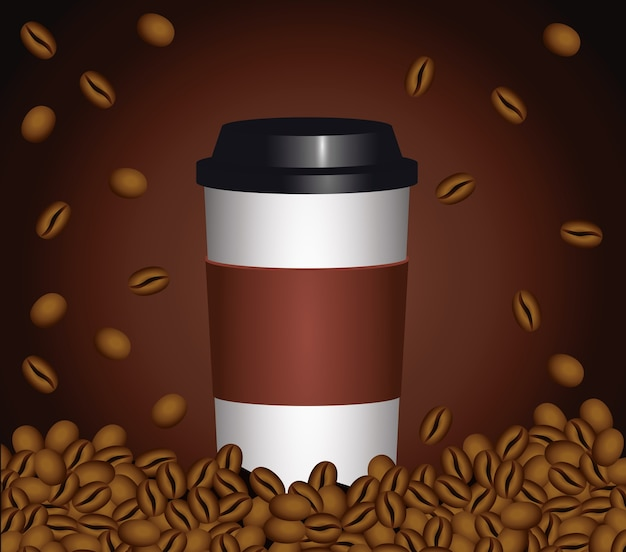 Coffee break poster with plastic pot and seeds in brown background vector illustration design Premium Vector