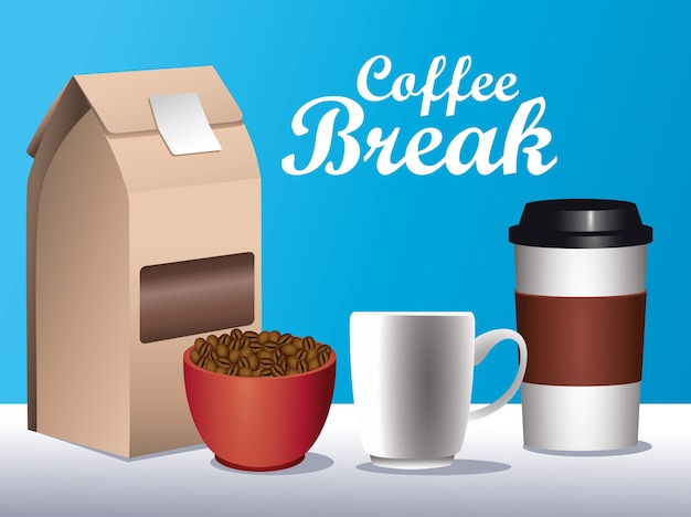 Coffee break poster with set icons in blue background vector illustration design Premium Vector