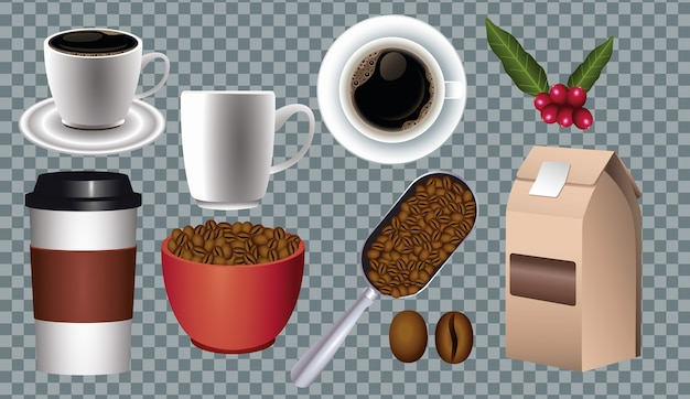Coffee break poster with set icons in checkered background vector illustration design Premium Vector