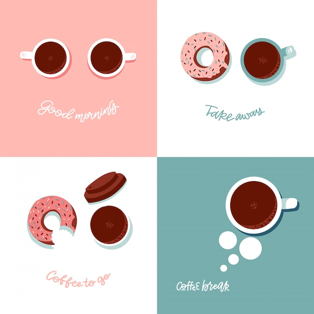Coffee break time with donut and cup top view. flat vector illustration with funny face imitation. lettering quotes - good morning, coffee break, take away, coffee to go Premium Vector