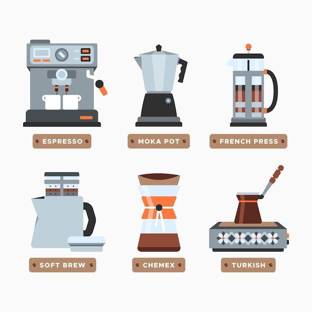 Концепция методов приготовления кофе Бесплатные векторы