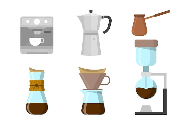 Free Vector | Coffee brewing methods illustrated
