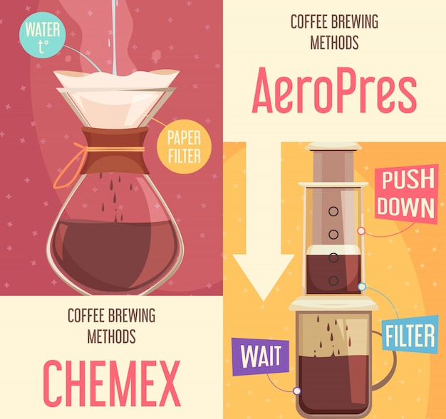 Coffee brewing methods vertical banners Free Vector