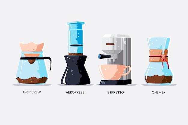 커피 추출 방법 무료 벡터
