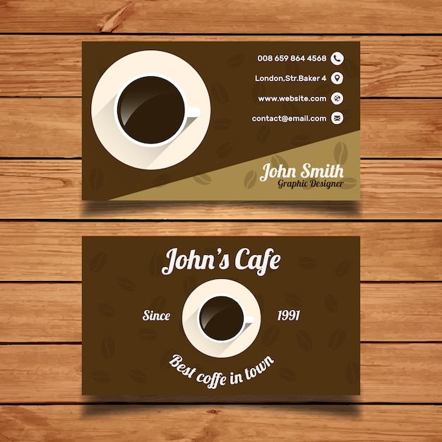 Coffee Business Card Template Vector Free Download - Coffee business card template free