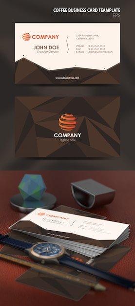 Coffee Business Card Template Vector Premium Download