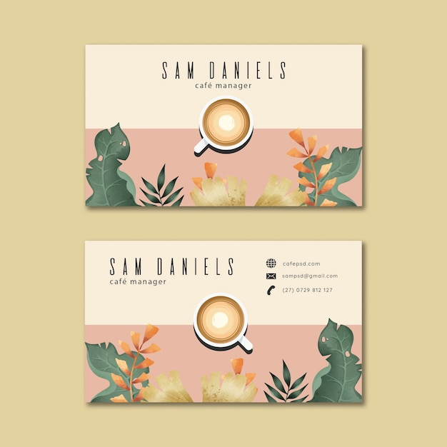 Coffee business card Free Vector