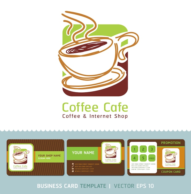 Coffee cafe icon logo and business cards. Premium Vector