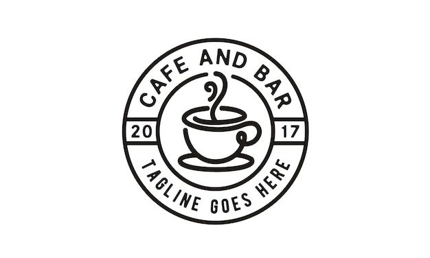 Coffee / cafe stamp logo design Premium Vector