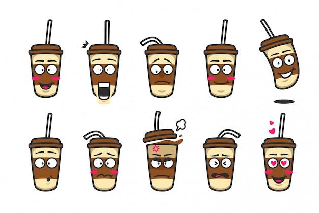 Набор картонных смайликов из мультфильма с кофейной чашкой Premium векторы
