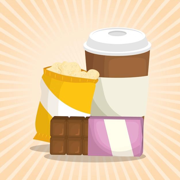 Coffee and chocolate bar with potatoes bag Free Vector