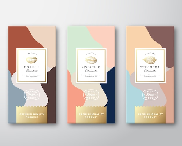 Coffee, cocoa and pistachio chocolate labels set Free Vector