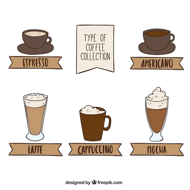 Coffee collection in brown tones