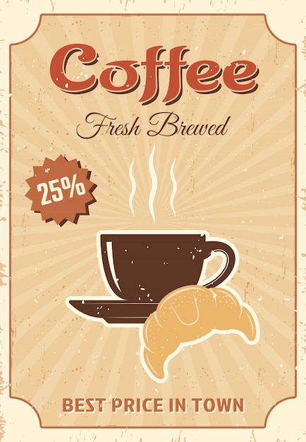 Coffee colored poster Free Vector