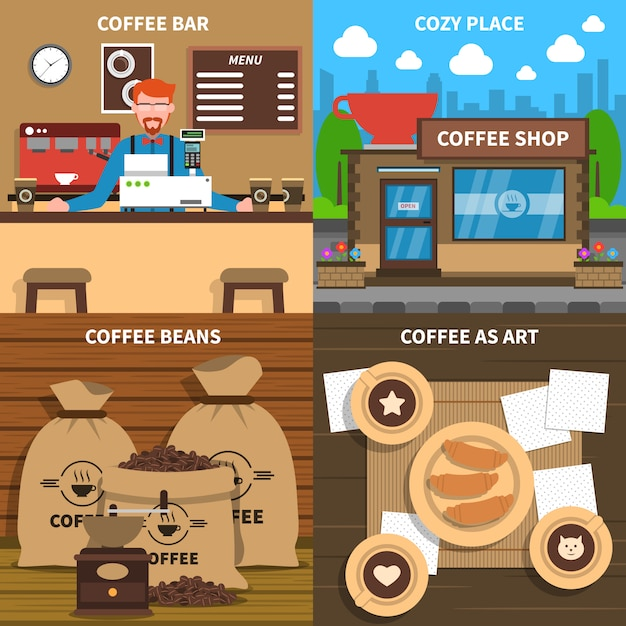 Coffee concept 4 flat icons square Free Vector