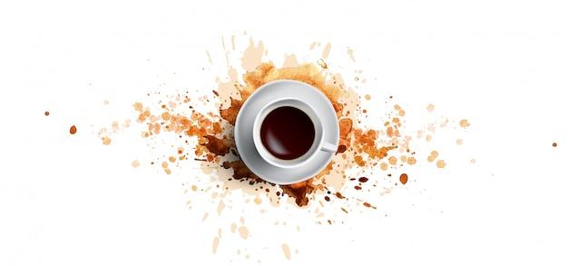 Концепция кофе на белом фоне - белая кофейная чашка, вид сверху с акварелью кофе брызг. ручная ничья и акварельная иллюстрация кофе с красивыми художественными всплесками Premium векторы