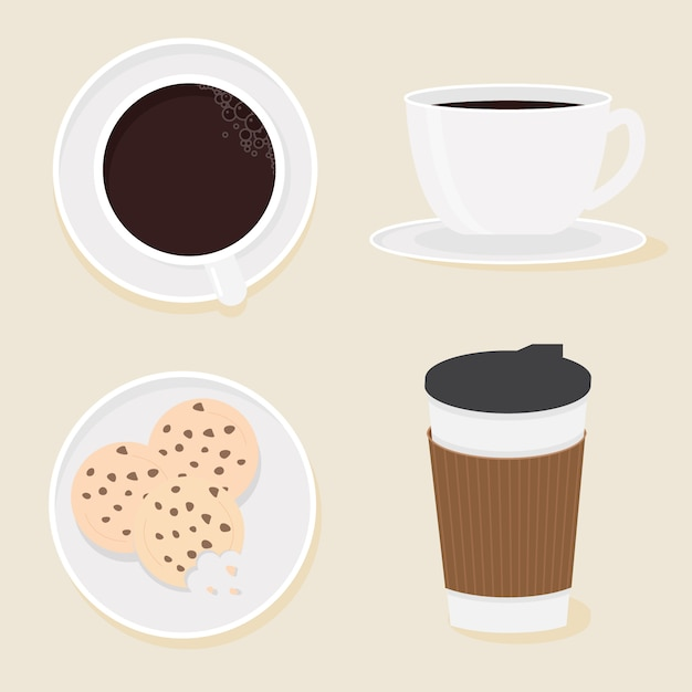 Coffee and cookies collection flat style Premium Vector