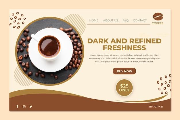 Целевая страница чашки кофе и зерен Бесплатные векторы
