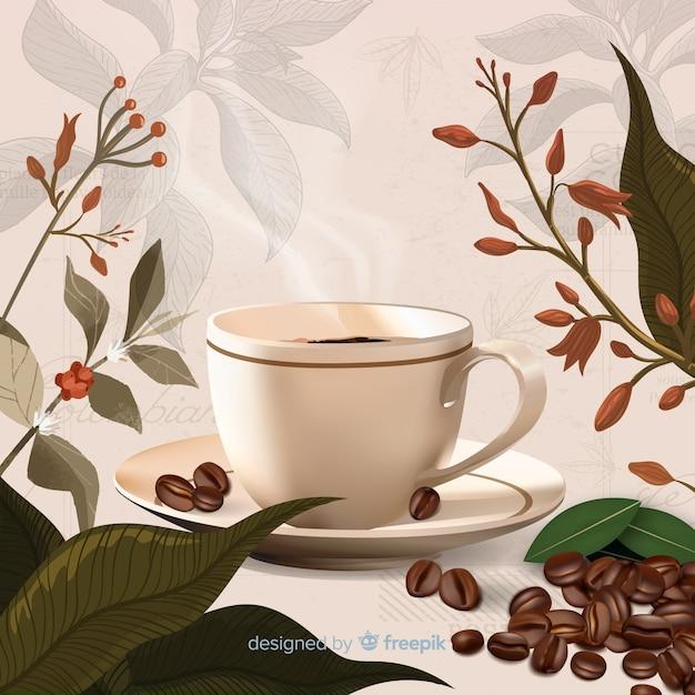 コーヒーカップと葉の背景 無料ベクター