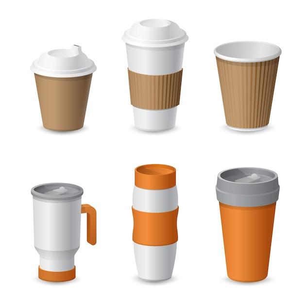 Мокап шаблона кофейной чашки и кружки для брендинга. реалистичный Premium векторы