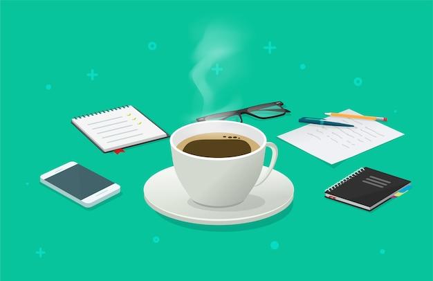 Перерыв на чашку кофе на рабочем столе деловой стол изометрический мультфильм, идея завтрака Premium векторы