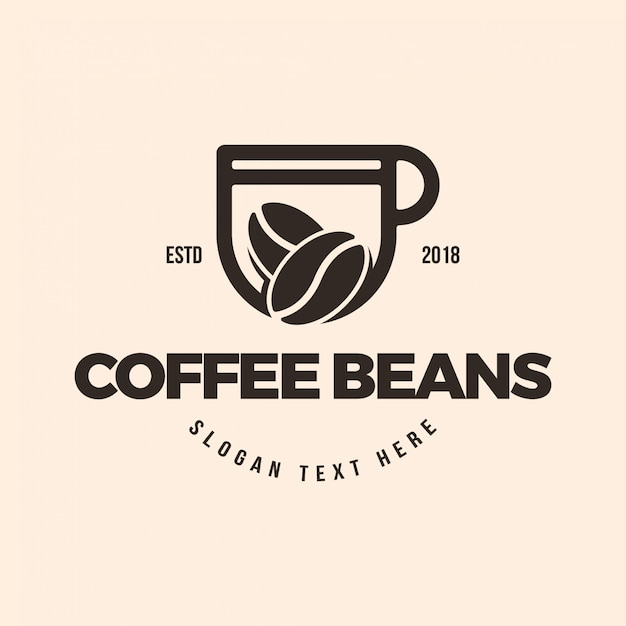 Coffee cup and coffee beans logo illustration template Premium Vector