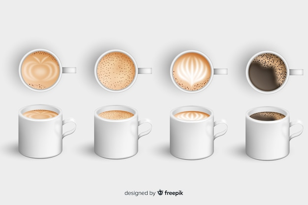 Coffee cup collection Free Vector