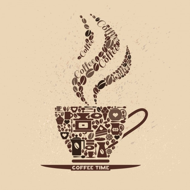 Coffee cup made of coffee icons Free Vector