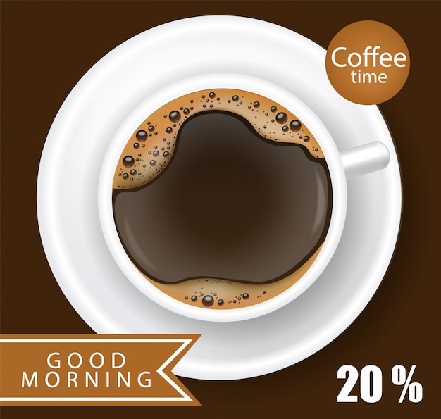 Coffee cup realistic   illustration Premium Vector