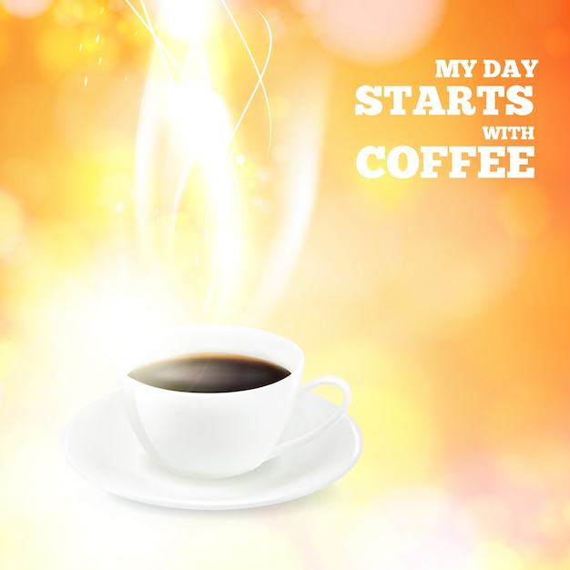 Coffee cup and sign my day starts with coffee Free Vector