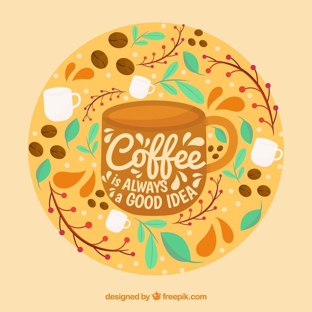 Coffee cup silhouette background with lettering Free Vector