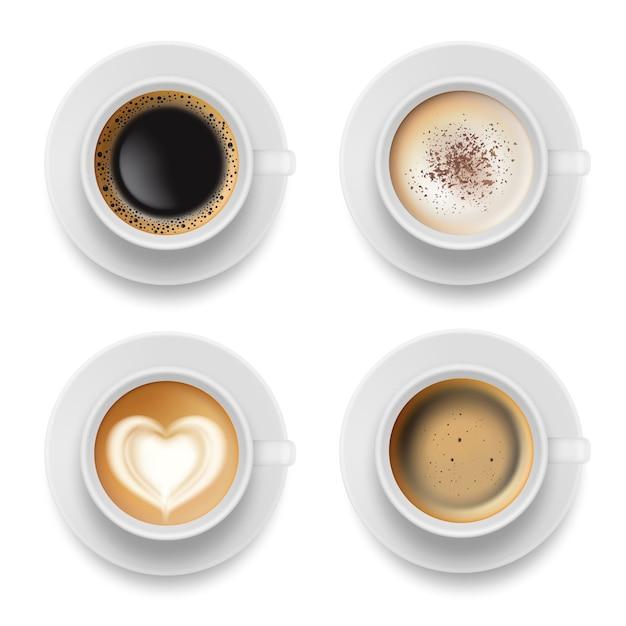 Coffee cup top. hot milk espresso latte breakfast tea time realistic template Premium Vector
