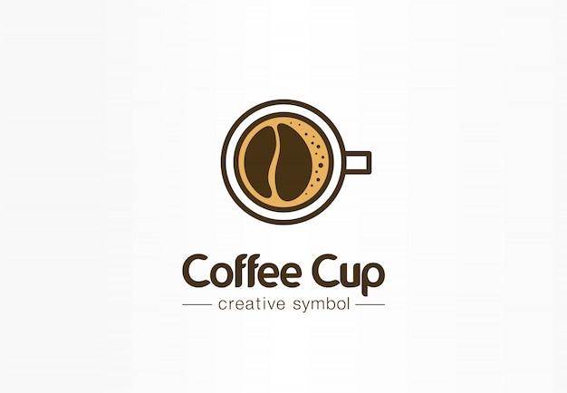 Coffee cup top view with bean shape foam creative symbol concept. cafe menu, restaurant abstract business logo idea. fresh espresso icon Premium Vector
