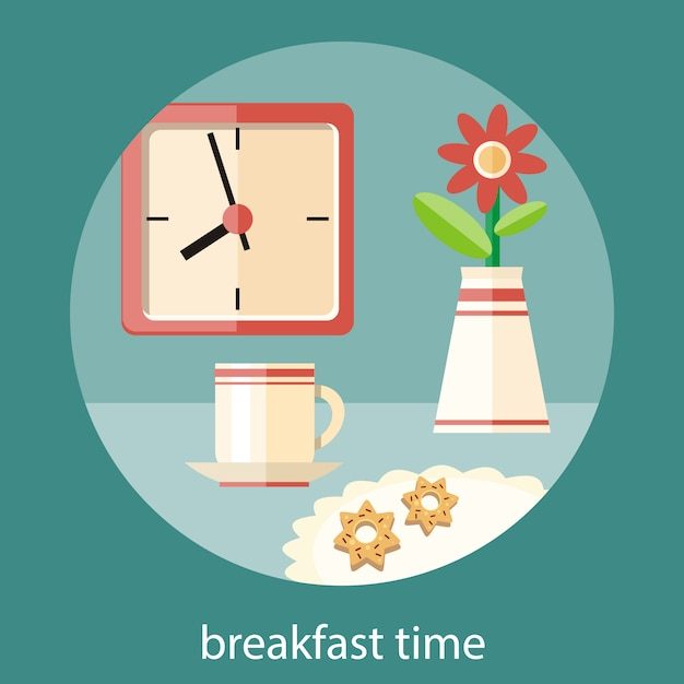 Coffee cup, vase with a flower and plate of cookies on table. breakfast time clock concept in flat design Premium Vector