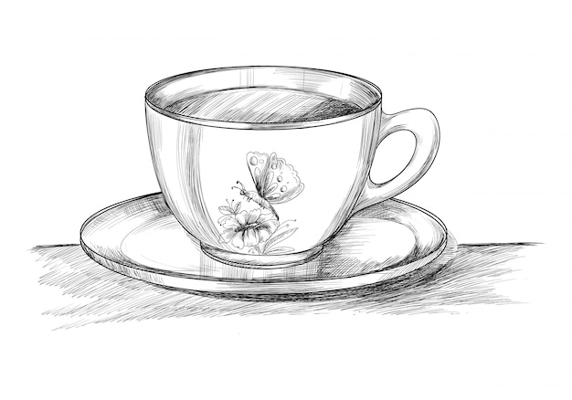 Coffee cup with plate hand draw sketch design Free Vector