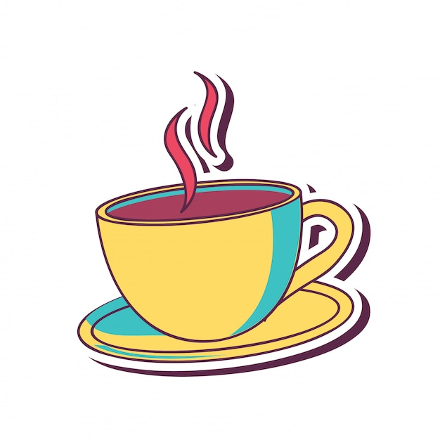 Coffee cup in yellow Free Vector
