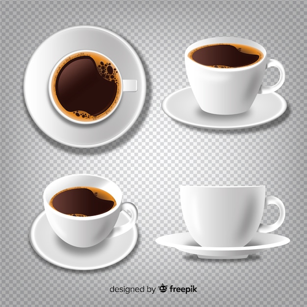 Coffee cups collection Free Vector