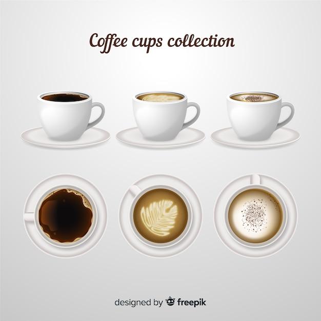 Коллекция кофейных чашек Бесплатные векторы