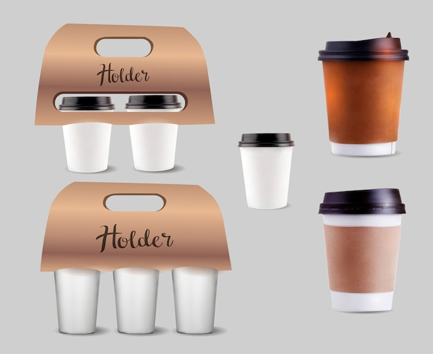 Coffee cups holder set. Premium Vector