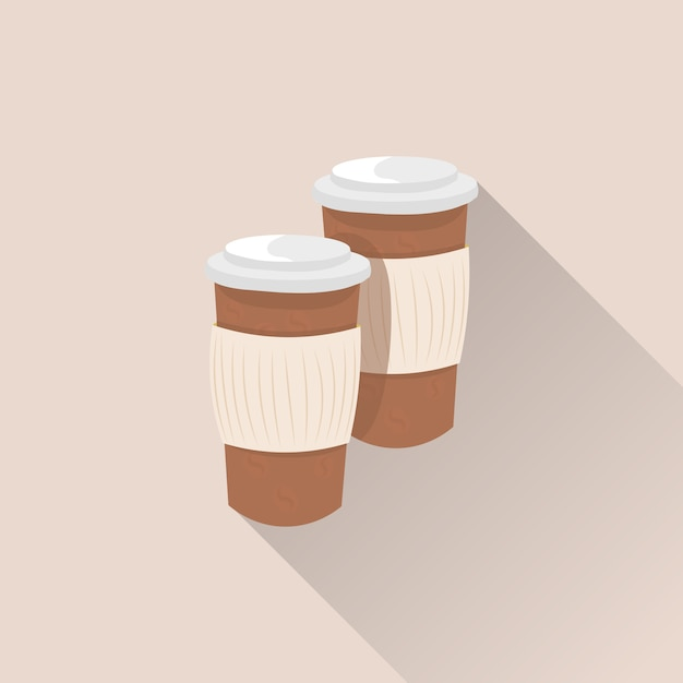Coffee cups paper disposable with long shadow Premium Vector
