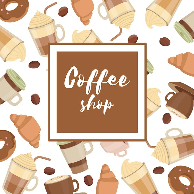 Coffee cups pattern frame Premium Vector