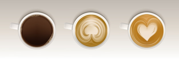 Coffee cups top view set, realistic mug with drink Free Vector