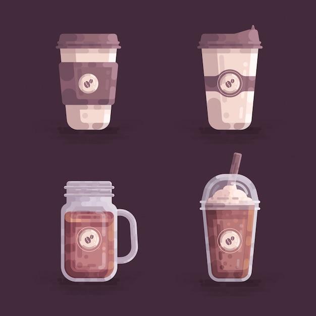 Coffee cups vector illustration Premium Vector
