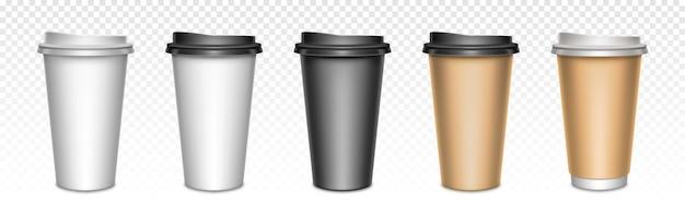 Кофейные чашки с закрытыми крышками, упаковка. пустые пластиковые или бумажные кружки для горячих напитков, уличная посуда на вынос для напитков. Бесплатные векторы