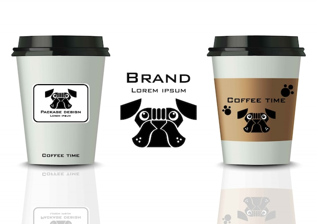 Coffee cups with labels mock up. realistic detailed designs Premium Vector