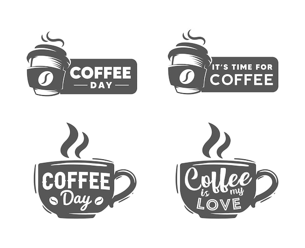 Coffee day retro logo template Premium Vector