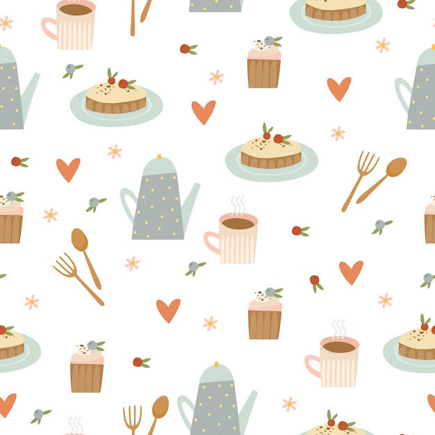 Coffee and desserts pattern Free Vector